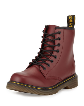 Delaney Matte Leather Military Boot, Cherry Red, Youth