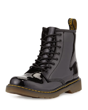 Delaney Patent Leather Military Boot, Black, Youth