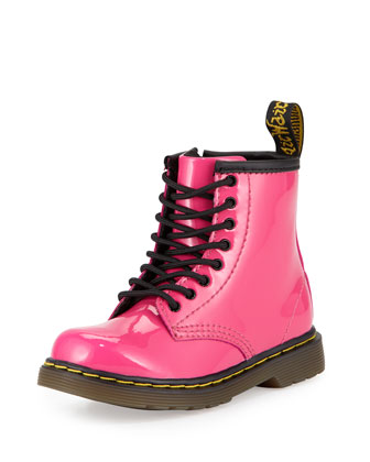 Brooklee Patent Leather Military Boot, Hot Pink, Toddler