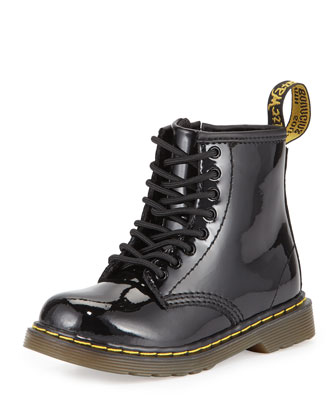 Brooklee Patent Leather Military Boot, Black, Toddler