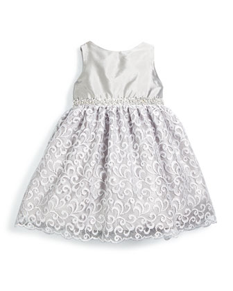 Sleeveless Satin & Lace Party Dress, Silver