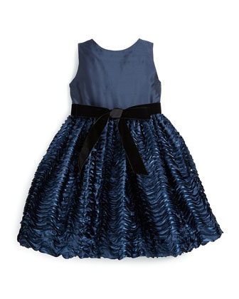 Sleeveless Tiered-Wave Party Dress, Navy, Size 2T-6