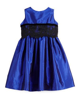 Sleeveless Lace-Trim Party Dress, Royal