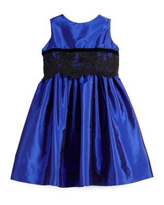 Sleeveless Lace-Trim Party Dress, Royal