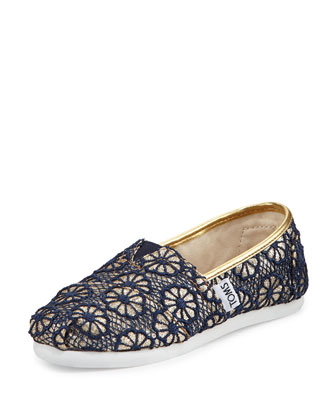 Glitter & Floral-Crochet Classic Shoe, Gold/Navy, Youth