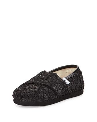 Glitter & Floral-Crochet Classic Shoe, Black, Tiny