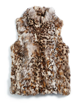 Rabbit-Fur Zip-Front Vest, Size 2-16
