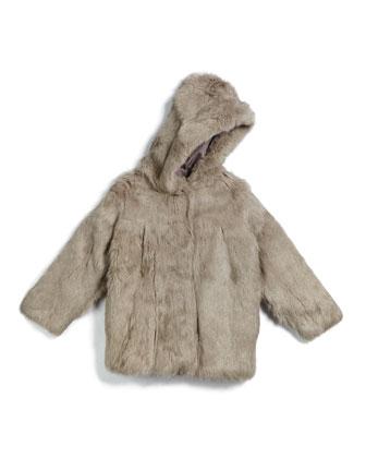 Hooded Rabbit-Fur Coat, Light Gray, Size 2-16