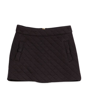 quilted cotton-blend a-line skirt, black, size 7-14