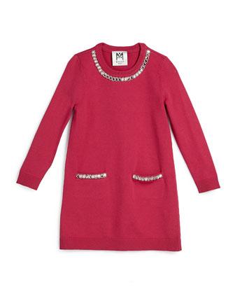 Embellished Long-Sleeve Sweaterdress, Raspberry, Size 4-7