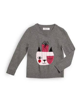 Holiday Cat Pullover Sweater, Gray, Size 8-14