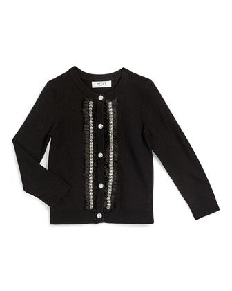 Embellished Button-Front Cardigan, Black, Size 8-14