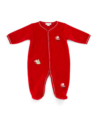 Jolly St. Nick Velour Pima Footie Pajamas, Red, Size 0-9 Months