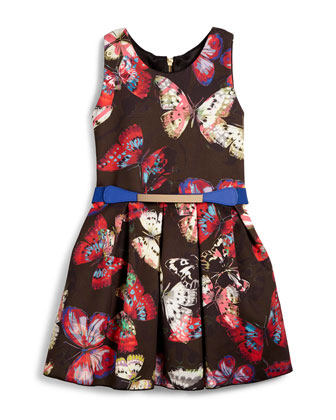 Sleeveless Pleated Butterfly Dress, Black/Multicolor