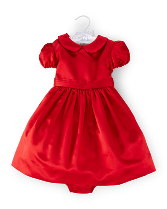 Duchess Satin Party Dress & Bloomers, Red, Size 9-24 Months