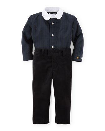 Tartan Plaid Shirt & Velour Pants, Navy/Black, Size 9-24 Months