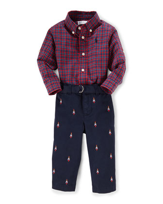 Plaid Poplin Shirt & Embroidered Pants, Red/Blue, Size 9-24 Months