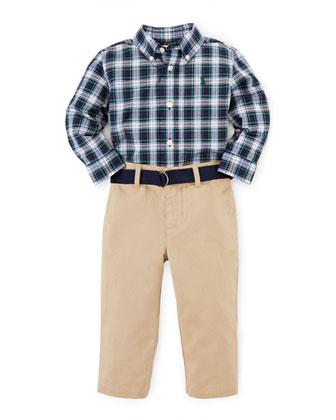 Long-Sleeve Plaid Shirt & Chino Pants, White/Blue, Size 9-24 Months
