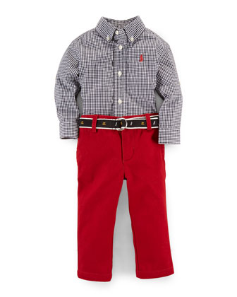 Long-Sleeve Gingham Shirt & Twill Pants, White/Red, Size 9-24 Months