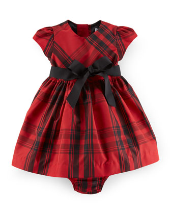 Plaid Taffeta Dress & Bloomers, Red/Black, Size 9-24 Months