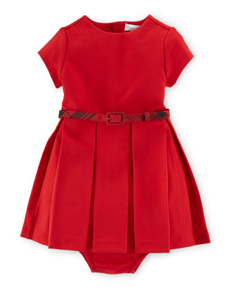Short-Sleeve Pleated A-Line Dress w/ Bloomers, Red, Size 9-24 Months