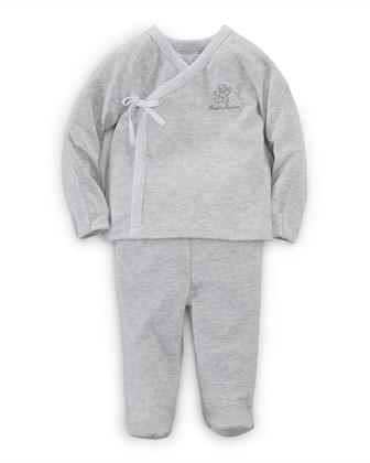 Long-Sleeve Surplice Top & Footed Pants, Quartz Heather, Size Newborn-9 Months