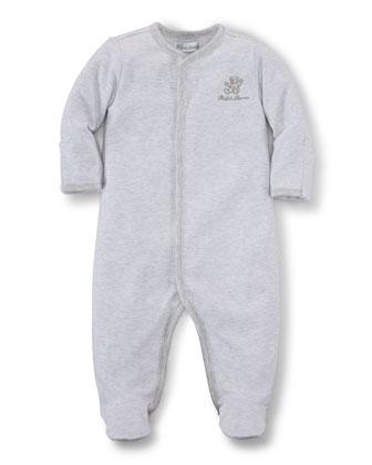 Long-Sleeve Striped Footie Pajamas, Quartz Heather, Size Newborn-9 Months