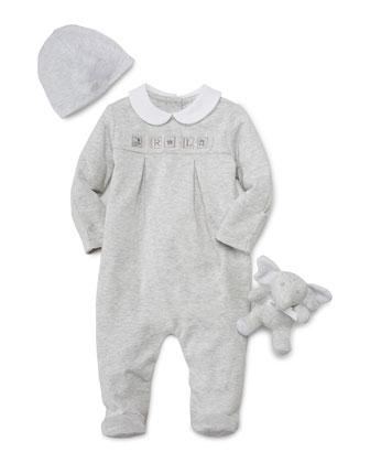 Pleated Footie Pajamas w/ Baby Hat & Stuffed Elephant, Quartz Heather, Size ...