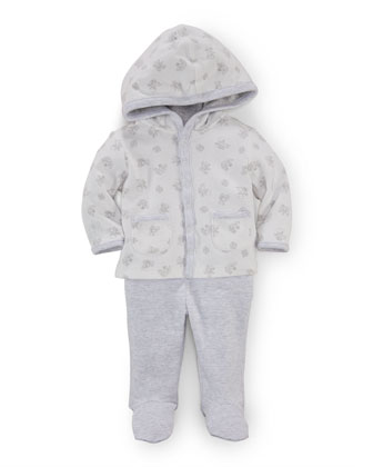 Hooded Teddy Bear Top & Striped Pants, Paper White/Gray, Size Newborn-9 ...