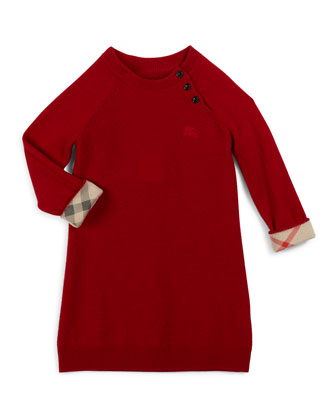 Chana Raglan Cashmere Shift Dress, Parade Red, Size 4-14