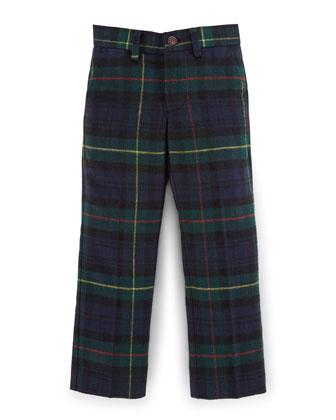 Tartan Plaid Slim-Fit Pants, Navy, Size 2-7
