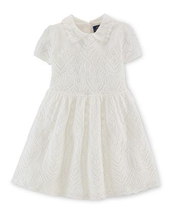 Pointelle-Knit Cashmere A-Line Dress, Warm White, Size 2-6X