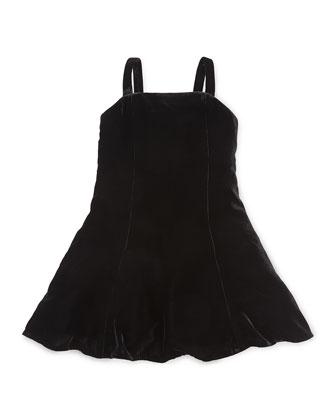 Sleeveless Velvet Fit-and-Flare Dress, Black, Size 2-6X