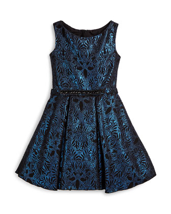 Sleeveless Damask A-Line Dress, Blue, Size 4-6