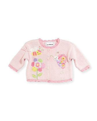 Hand-Loomed Cotton Garden Sweater, Pink, Size 6-12 Months