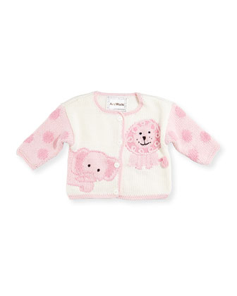 Hand-Loomed Cotton Jungle Sweater, Pink, Size 6-12 Months