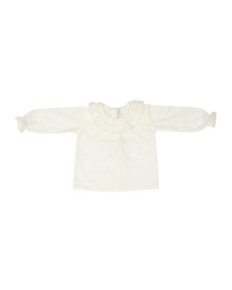 Alba Lace-Trim Baby Blouse, Beige, Size 3-9 Months