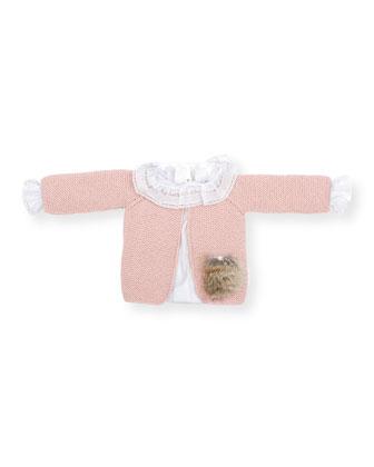 Knit Fur-Trim Cardigan, Dusty Pink, Size 3-9 Months