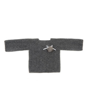 Ribbed Cashmere Pullover Sweater, Gray, Size 3-9 Months