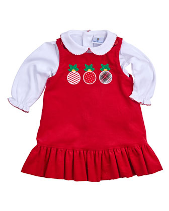 Reversible Corduroy Jumper & Poplin Shirt, Red, Size 3-24 Months
