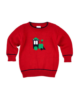 Cotton Train Pullover Sweater, Red, Size 12-24 Months
