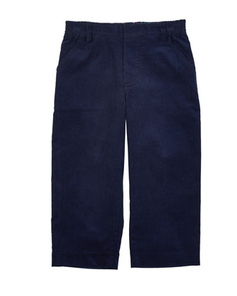 Cotton Corduroy Pants, Navy, Size 2-4