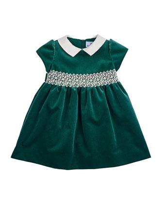 Velvet Cap-Sleeve Dress, Green, Size 2-6