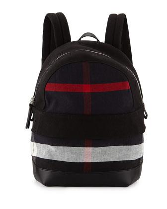 Tiller Men's Leather-Trim Check Backpack, Black/Navy