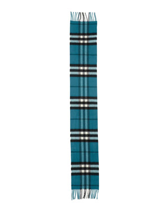 Kids' Exploded Check Cashmere Scarf, Dark Aqua