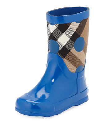 Ranmoor Polka-Dot Rubber Rain Boot, Lupin Blue, Youth