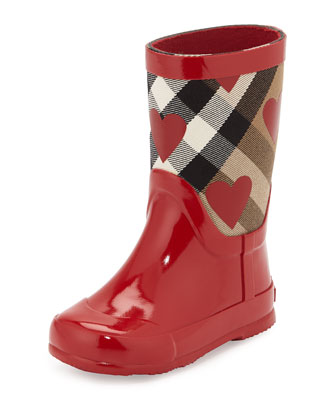 Ranmoor Heart-Print Rubber Rain Boot, Red, Youth