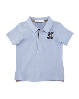 Palmer Cotton Pique Polo Shirt, Light Blue, Size 6M-3Y