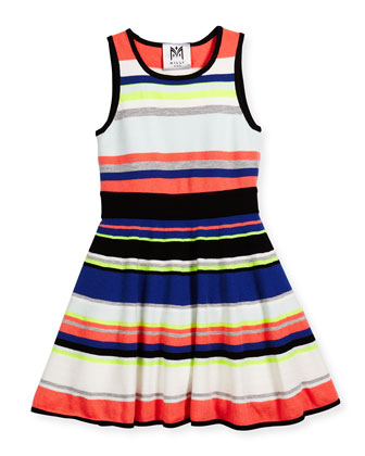 Sleeveless Striped Fit-and-Flare Dress, Multicolor, Size 4-7