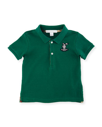 Palmer Pique Polo Shirt, Bottle Green, Size 6M-3